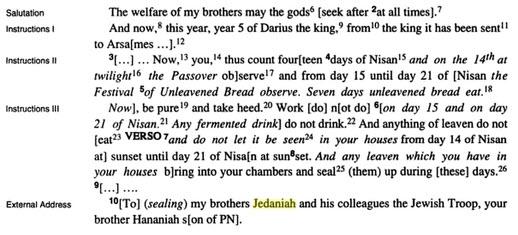 bezalel porten translation example Passover letter papyrus