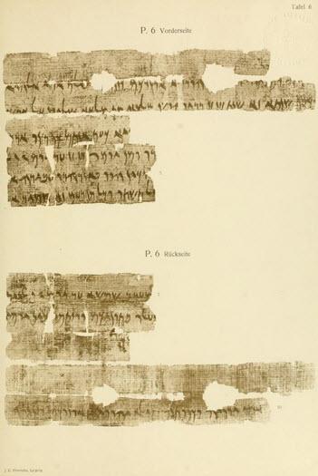 Sachau image Passover papyrus Tafel 6 Plate 6 both sides