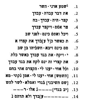 Ostrac Yavney Yam Hashavya text Hebrew J
