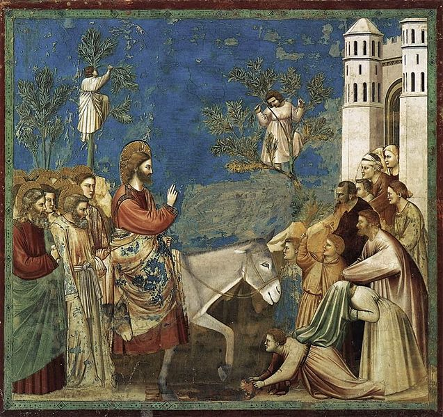 Giotti's Entry of Jesus into Jerusalem, from his Scenes From the Life of Christ.  Giotti di Bondone.
