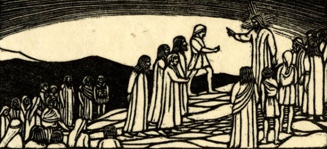 Artwork Christ speaking to crowd on a mountain. Woodcut by Phyllis Gardner. British Museum.