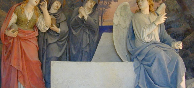 Empty Tomb Women Angel carving Sacro Monte di Crea Italy Chapel XIX