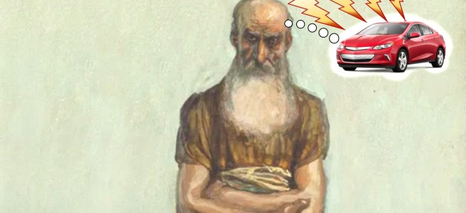 Silly image of Tissot's nice watercolor of Nahum the prophet, butchered by having him thinking of a red Chevy Volt.