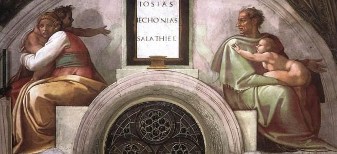 Michelangelo painting of Josiah, Jeconiah, and Shealtel in the Sistine Chapel